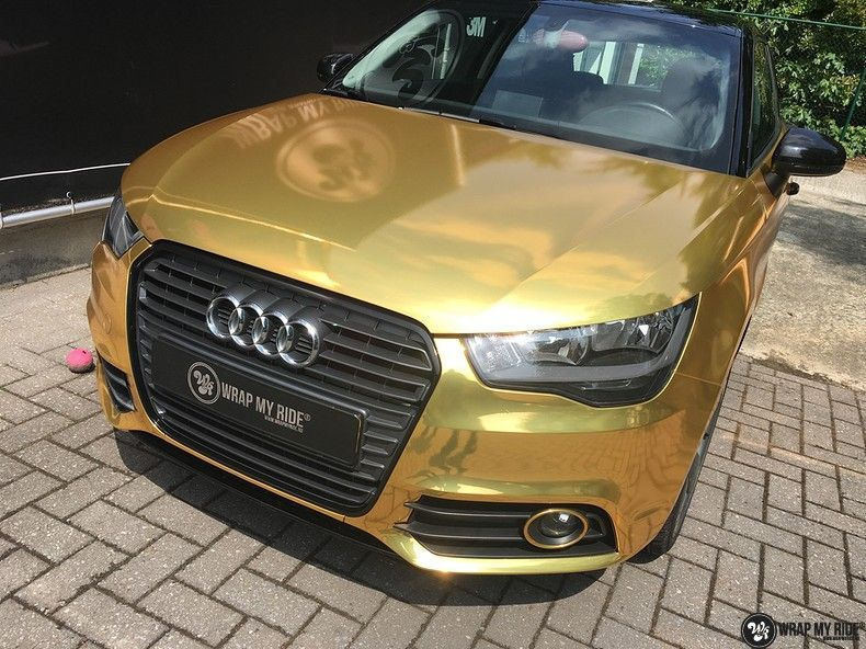 Audi A1 avery gold chrome, Carwrapping door Wrapmyride.nu Foto-nr:11162, ©2019