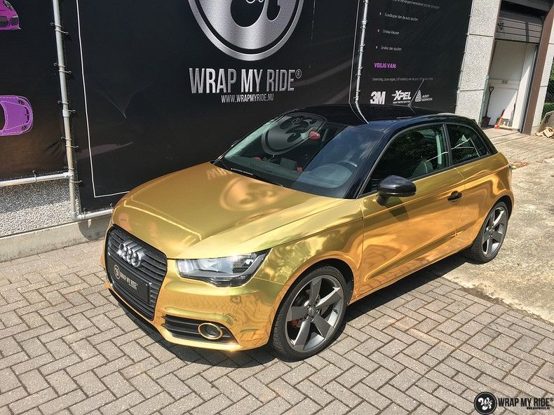 Audi A1 avery gold chrome, Carwrapping door Wrapmyride.nu Foto-nr:11161, ©2019