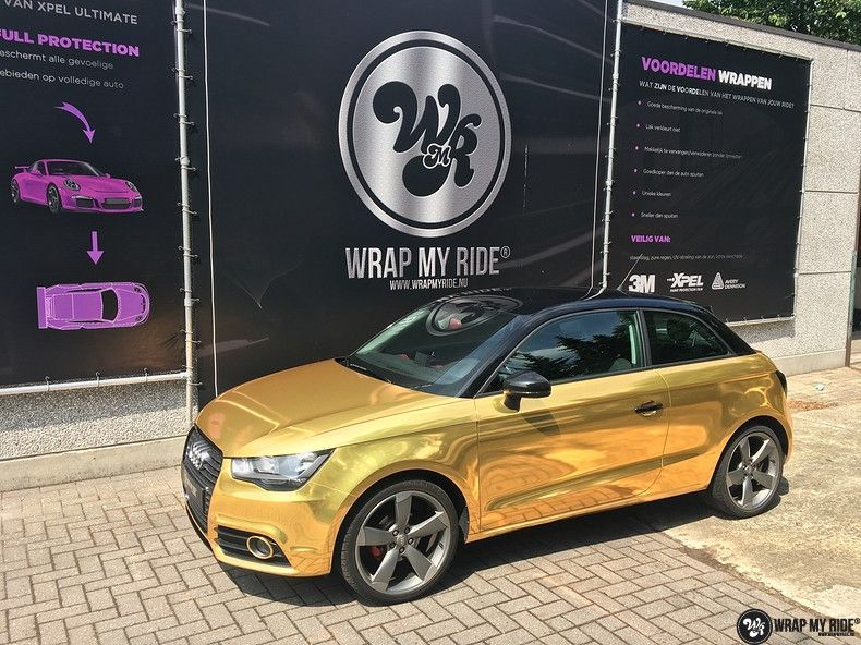 Audi A1 avery gold chrome, Carwrapping door Wrapmyride.nu Foto-nr:11156, ©2019