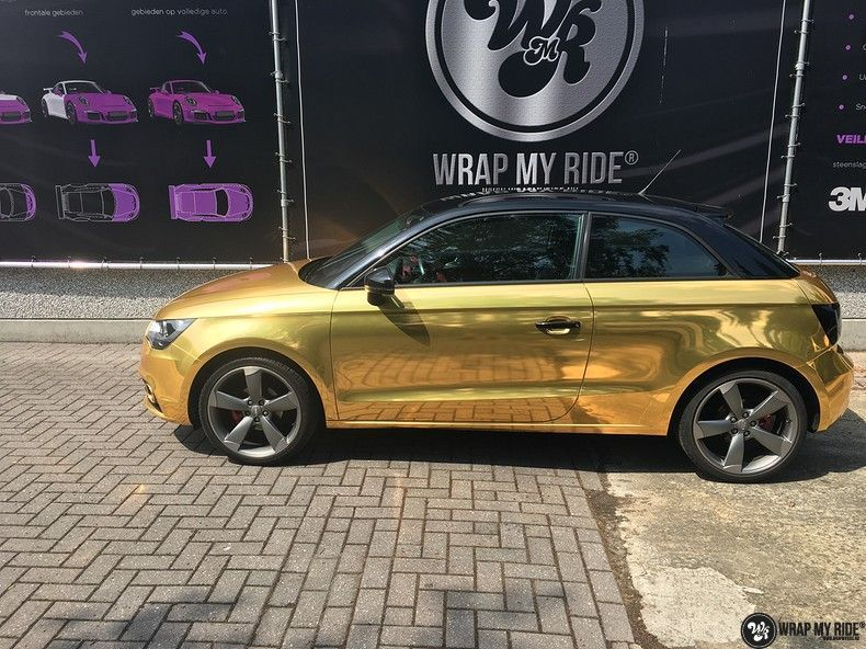 Audi A1 avery gold chrome, Carwrapping door Wrapmyride.nu Foto-nr:11154, ©2019