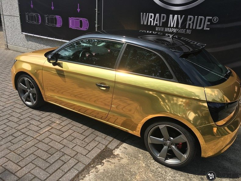 Audi A1 avery gold chrome, Carwrapping door Wrapmyride.nu Foto-nr:11155, ©2019