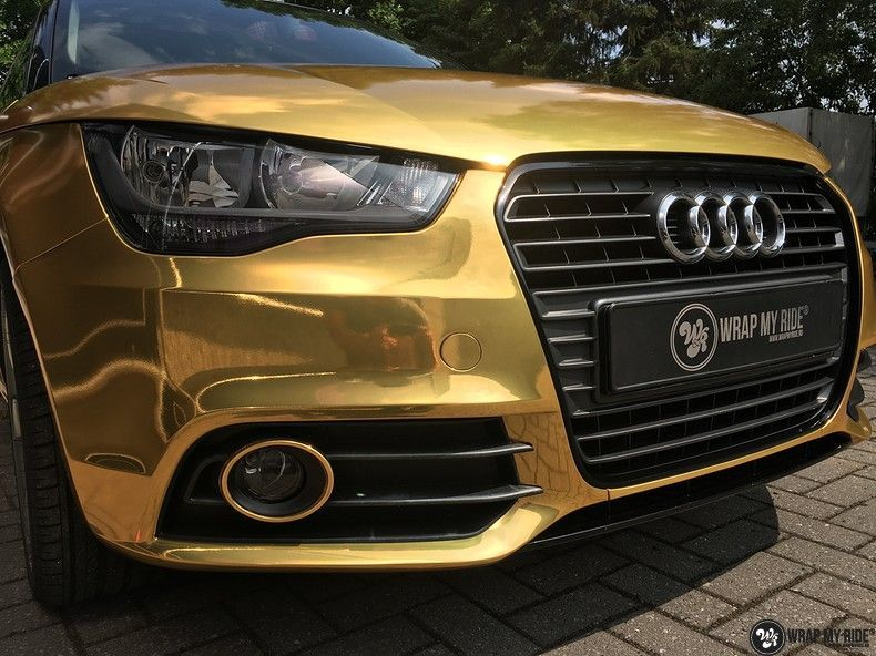 Audi A1 avery gold chrome, Carwrapping door Wrapmyride.nu Foto-nr:11151, ©2021