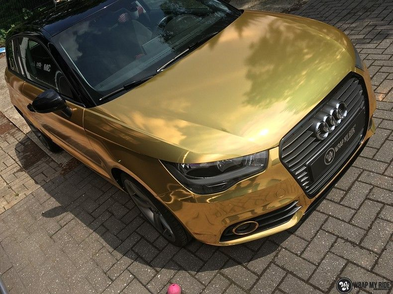 Audi A1 avery gold chrome, Carwrapping door Wrapmyride.nu Foto-nr:11150, ©2019