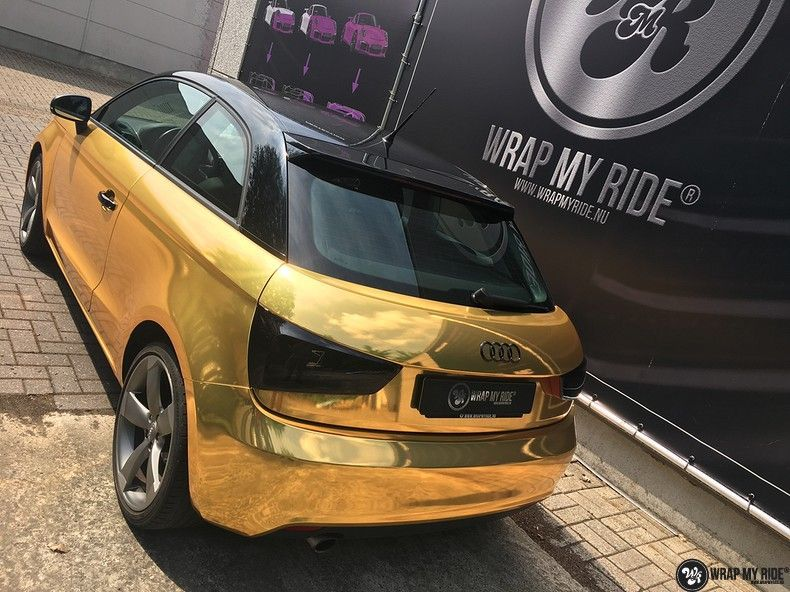 Audi A1 avery gold chrome, Carwrapping door Wrapmyride.nu Foto-nr:11152, ©2019