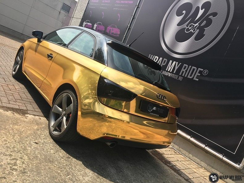 Audi A1 avery gold chrome, Carwrapping door Wrapmyride.nu Foto-nr:11153, ©2021