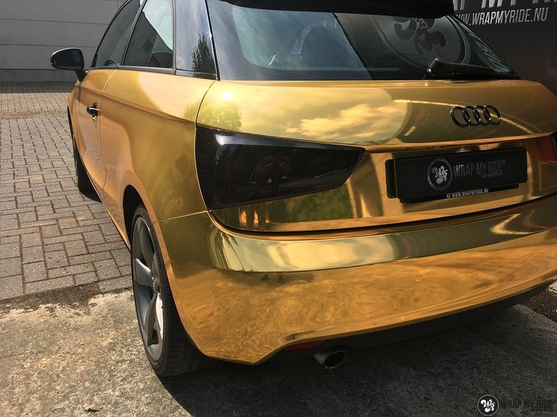 Audi A1 avery gold chrome, Carwrapping door Wrapmyride.nu Foto-nr:11148, ©2019
