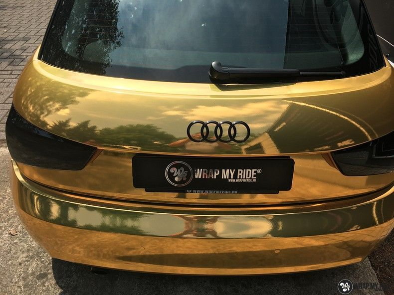 Audi A1 avery gold chrome, Carwrapping door Wrapmyride.nu Foto-nr:11149, ©2021