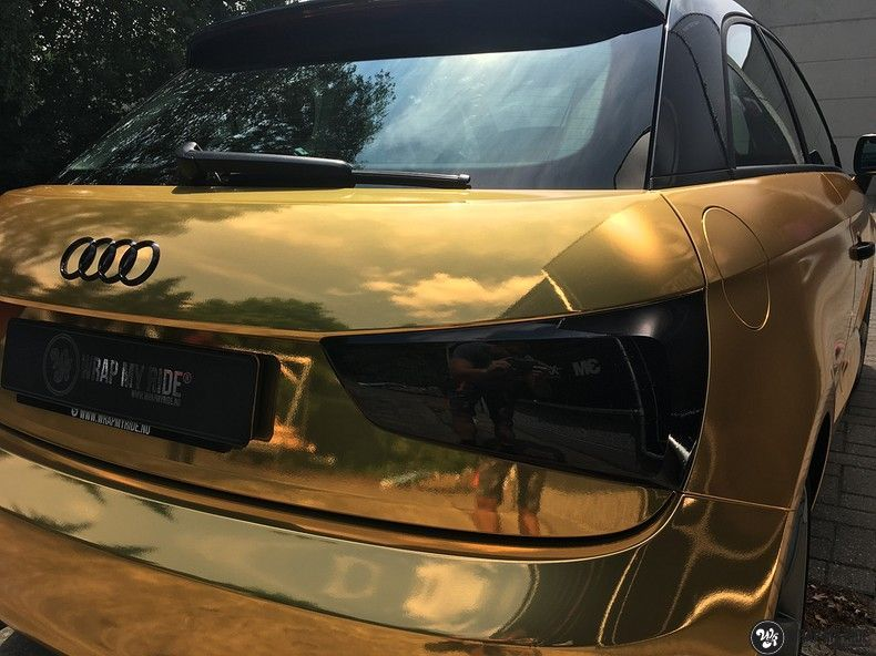 Audi A1 avery gold chrome, Carwrapping door Wrapmyride.nu Foto-nr:11147, ©2019