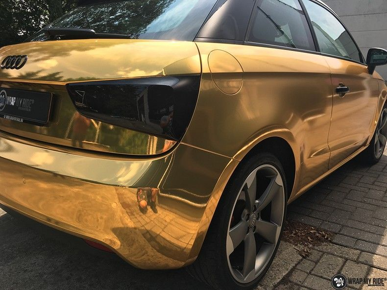 Audi A1 avery gold chrome, Carwrapping door Wrapmyride.nu Foto-nr:11146, ©2019