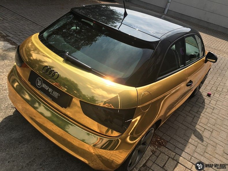 Audi A1 avery gold chrome, Carwrapping door Wrapmyride.nu Foto-nr:11143, ©2021