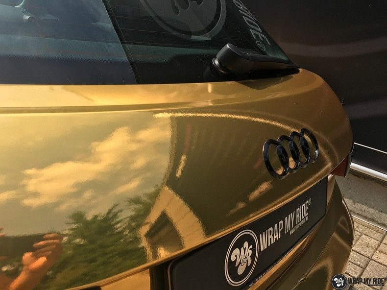 Audi A1 avery gold chrome, Carwrapping door Wrapmyride.nu Foto-nr:11142, ©2020