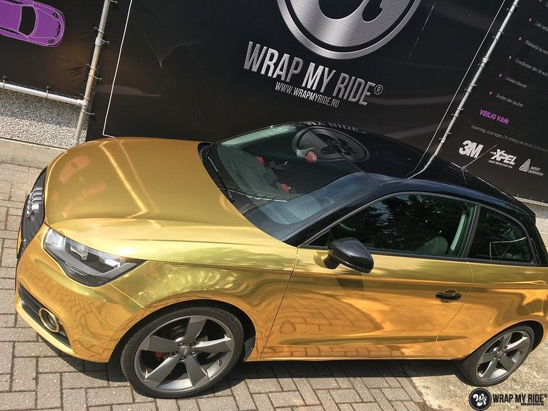 Audi A1 avery gold chrome, Carwrapping door Wrapmyride.nu Foto-nr:11141, ©2021