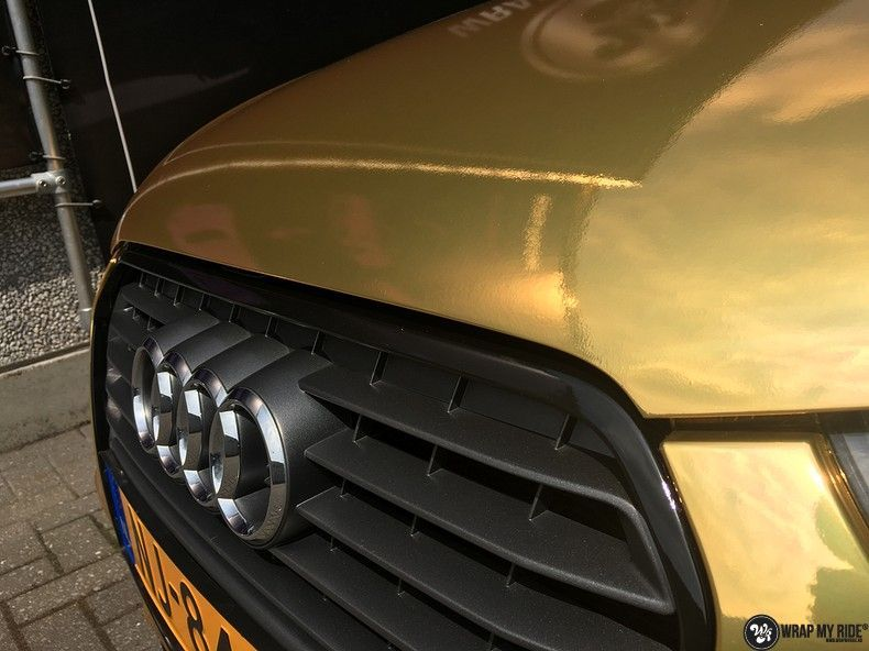 Audi A1 avery gold chrome, Carwrapping door Wrapmyride.nu Foto-nr:11140, ©2021