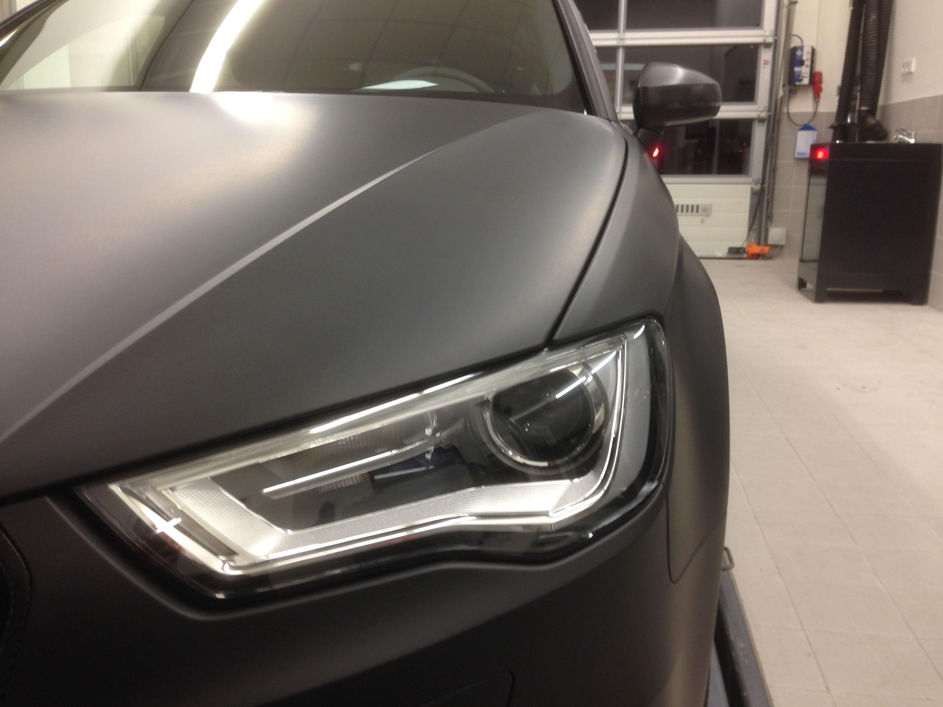 Audi A3 2014 met Mat Zwarte Wrap, Carwrapping door Wrapmyride.nu Foto-nr:4472, ©2021
