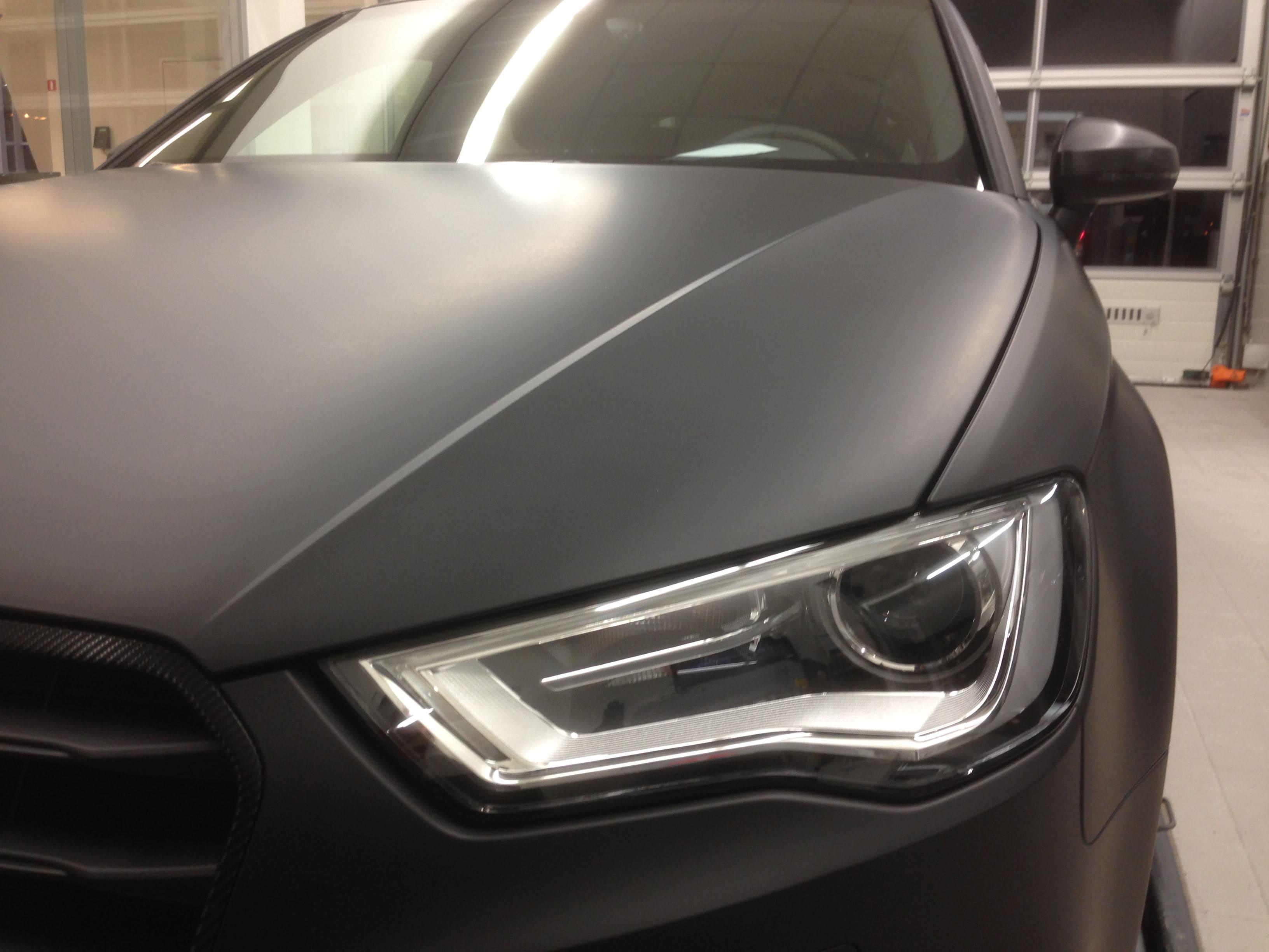 Audi A3 2014 met Mat Zwarte Wrap, Carwrapping door Wrapmyride.nu Foto-nr:4473, ©2021