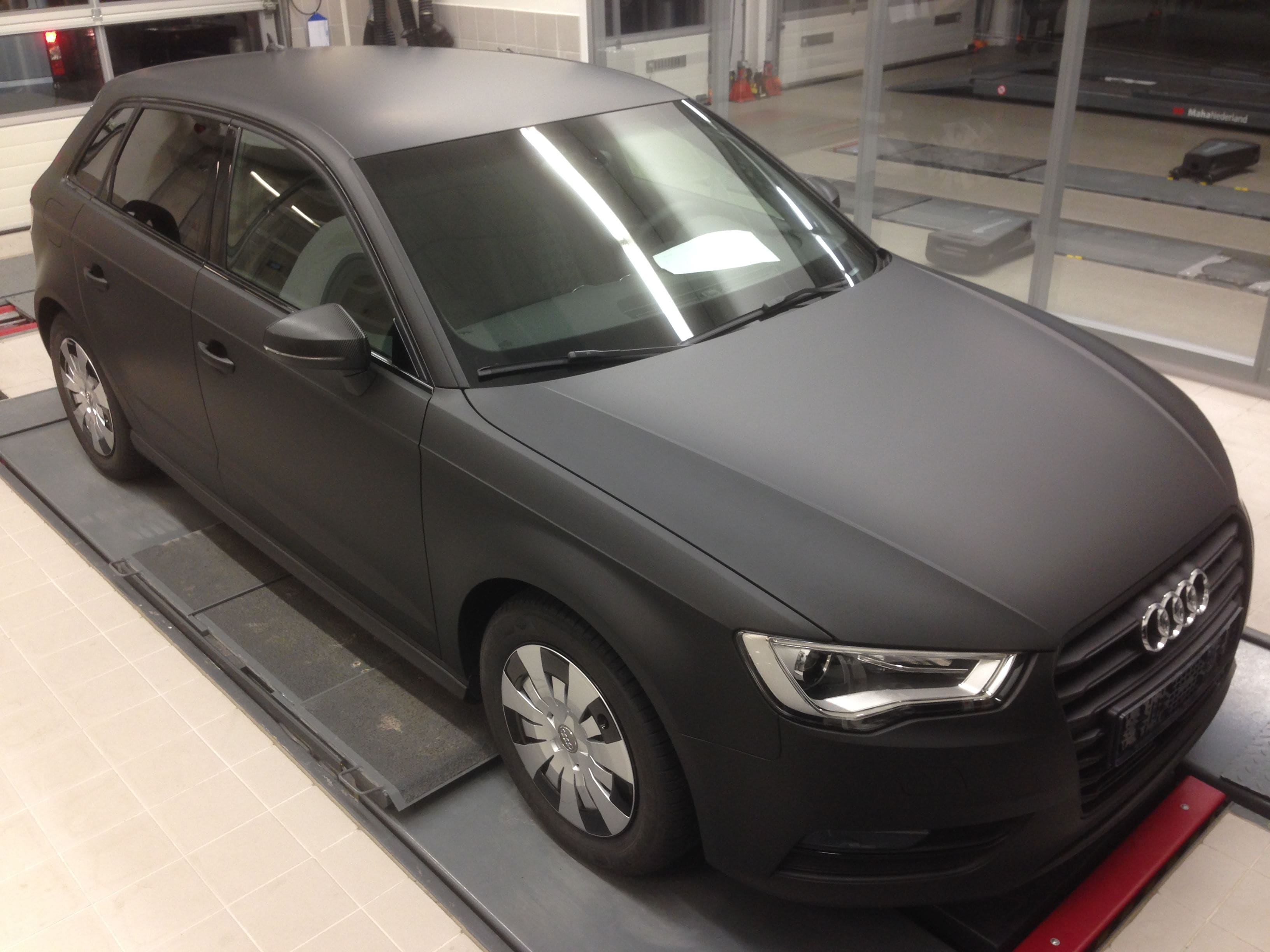 Audi A3 2014 met Mat Zwarte Wrap, Carwrapping door Wrapmyride.nu Foto-nr:4475, ©2021