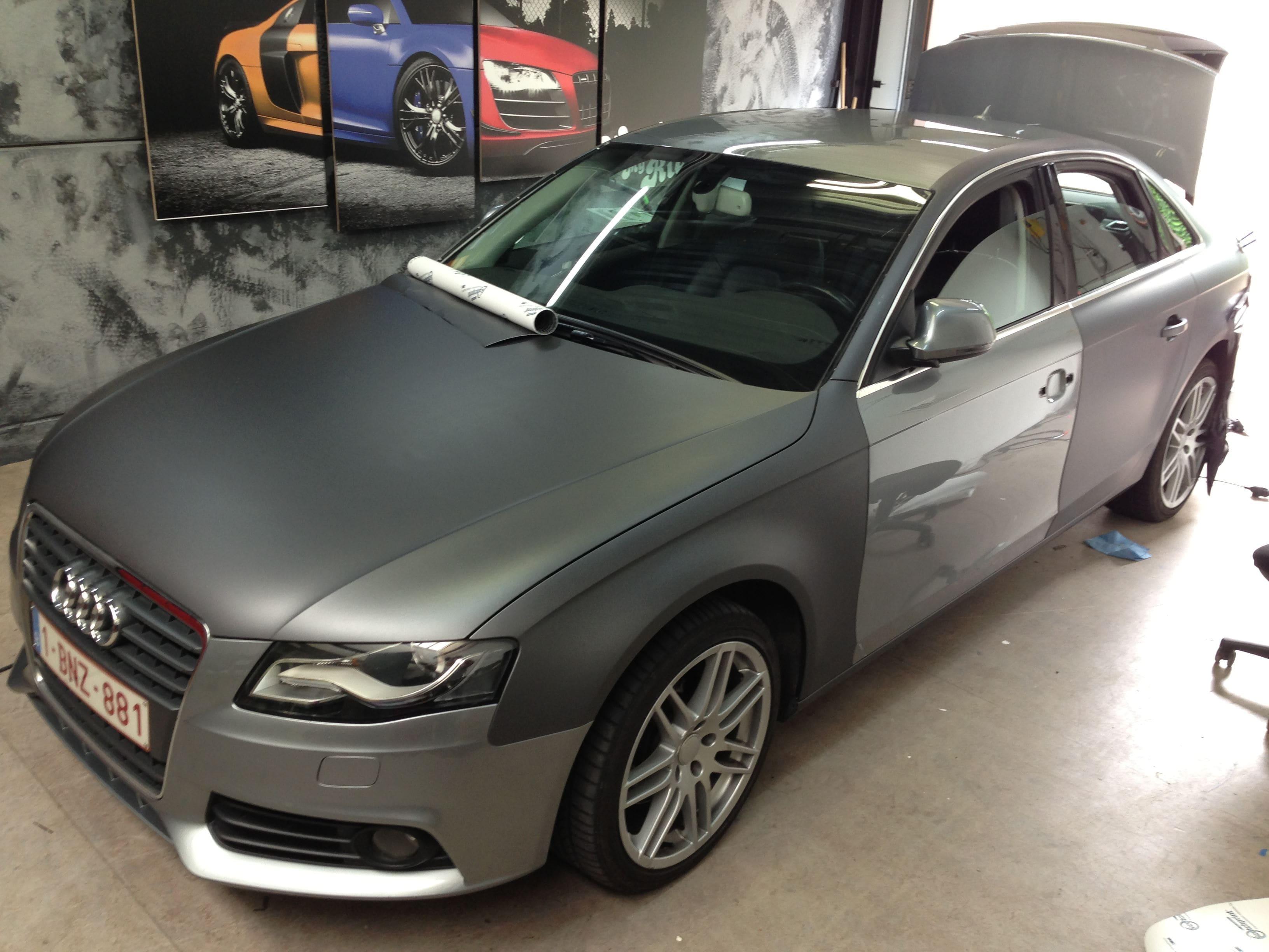 Audi A4 B6 met Gunpowder Wrap, Carwrapping door Wrapmyride.nu Foto-nr:4505, ©2021
