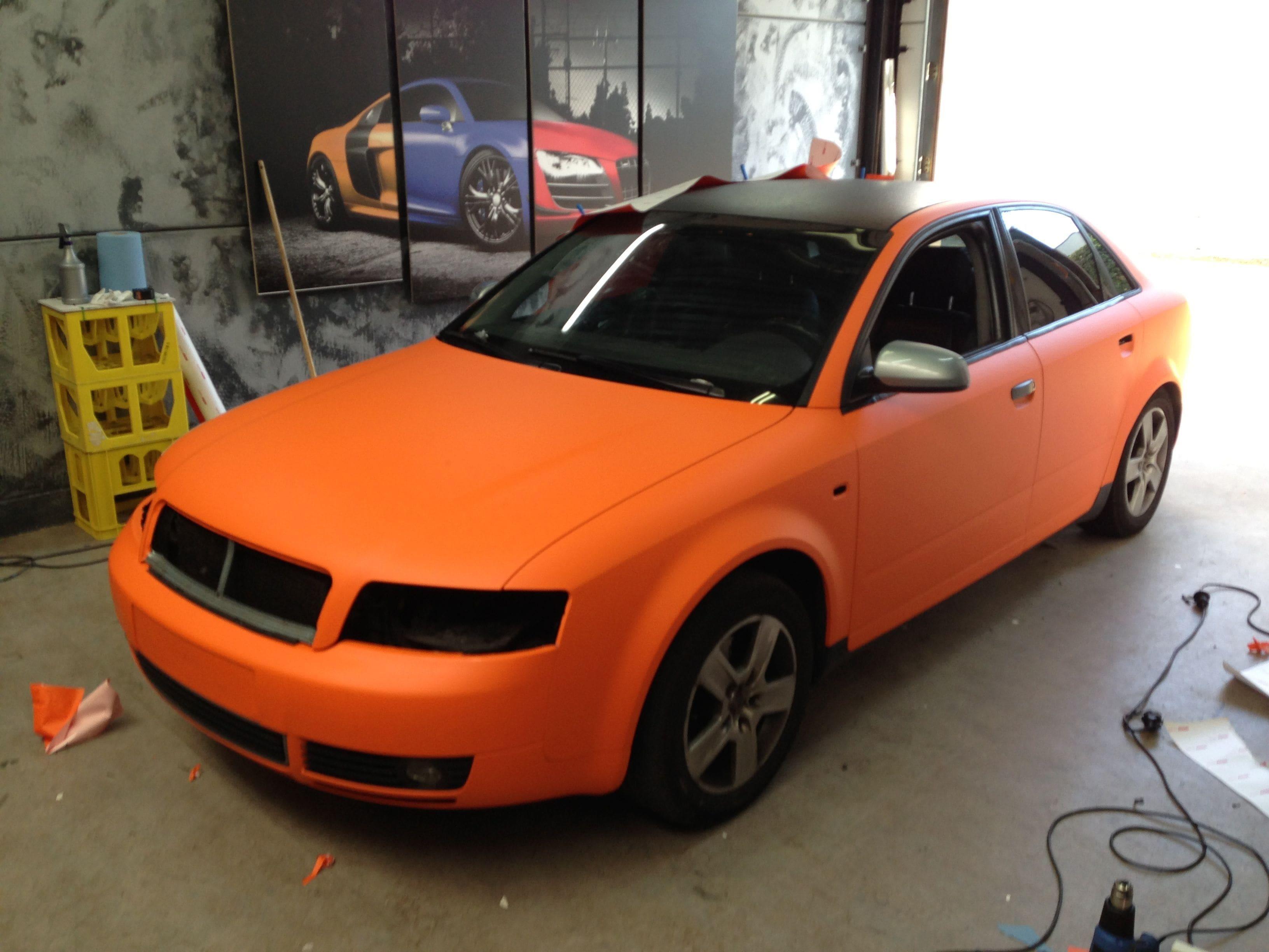 Audi A4 B6 met Mat Oranje Wrap, Carwrapping door Wrapmyride.nu Foto-nr:4497, ©2020