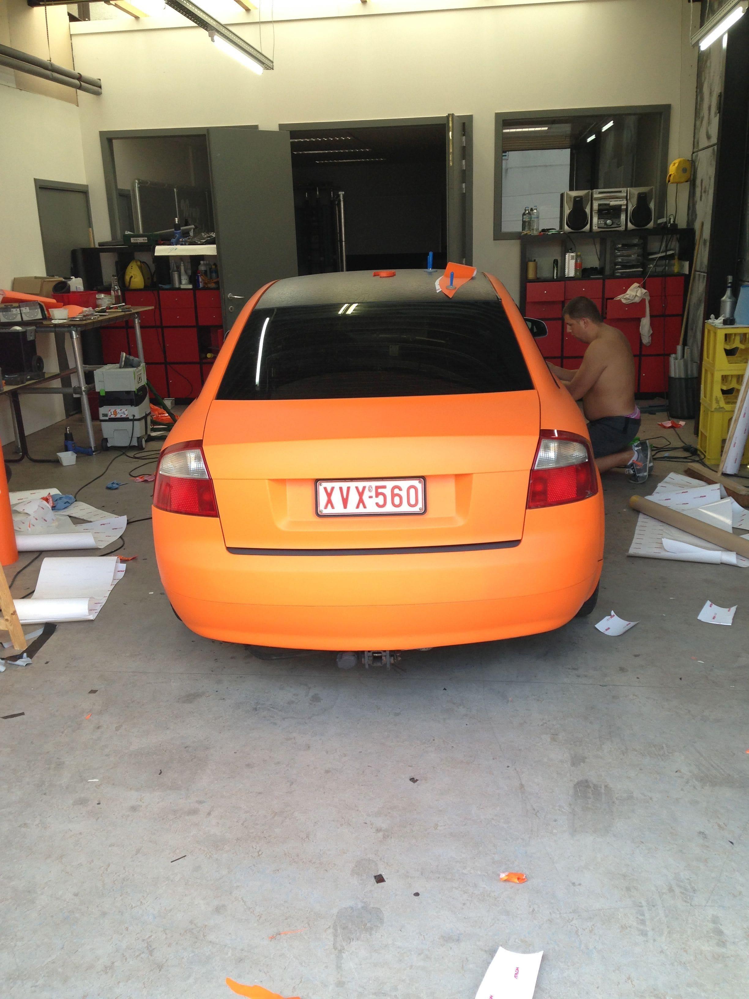 Audi A4 B6 met Mat Oranje Wrap, Carwrapping door Wrapmyride.nu Foto-nr:4498, ©2021
