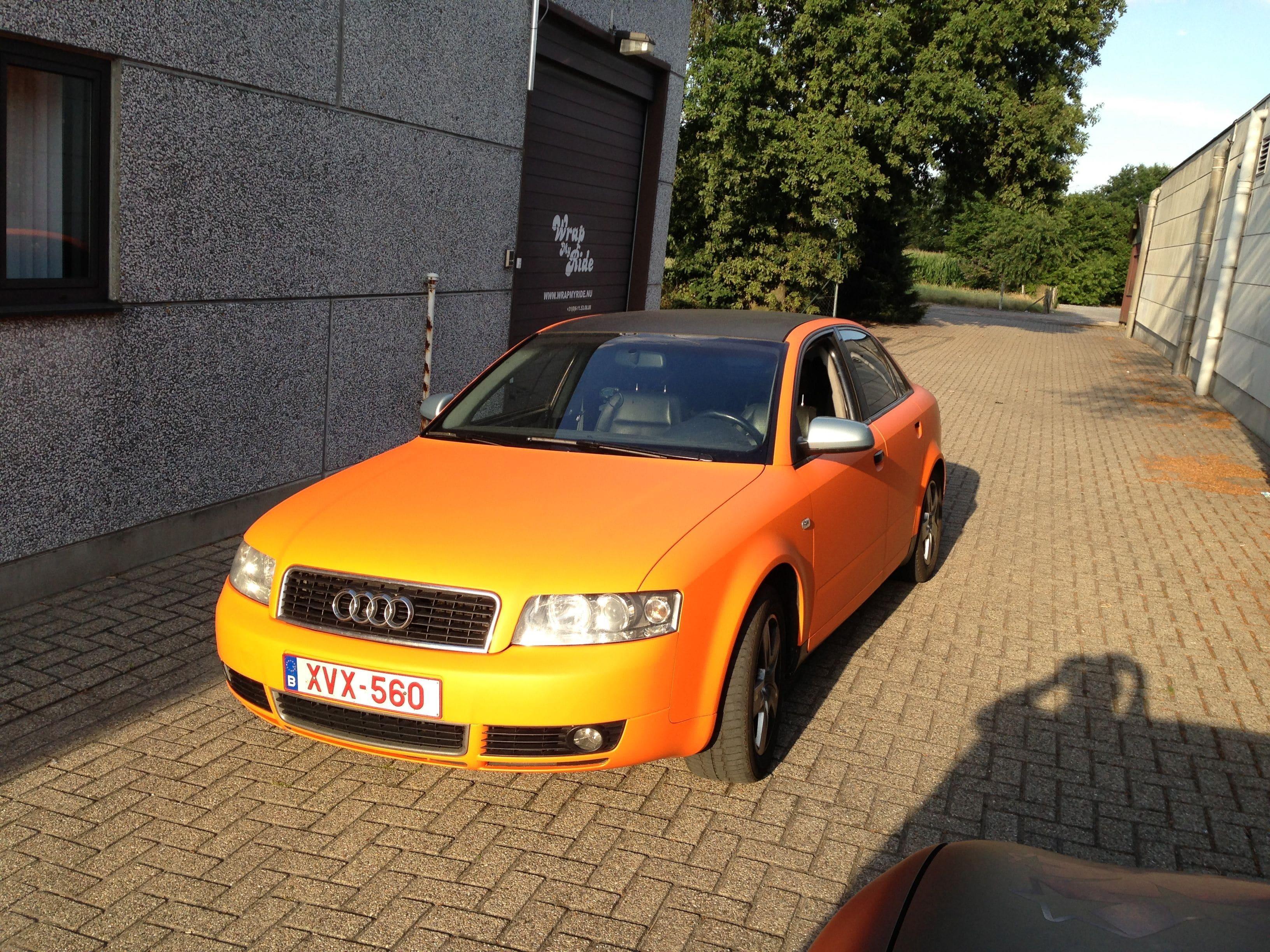 Audi A4 B6 met Mat Oranje Wrap, Carwrapping door Wrapmyride.nu Foto-nr:4499, ©2020