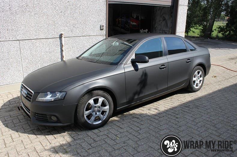 Audi A4 matte zwart, Carwrapping door Wrapmyride.nu Foto-nr:7917, ©2021