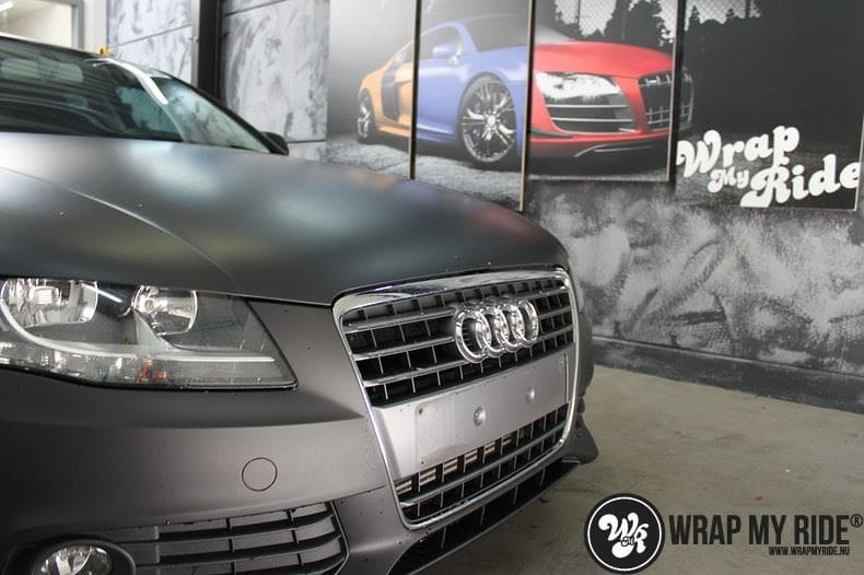 Audi A4 matte zwart, Carwrapping door Wrapmyride.nu Foto-nr:7924, ©2021