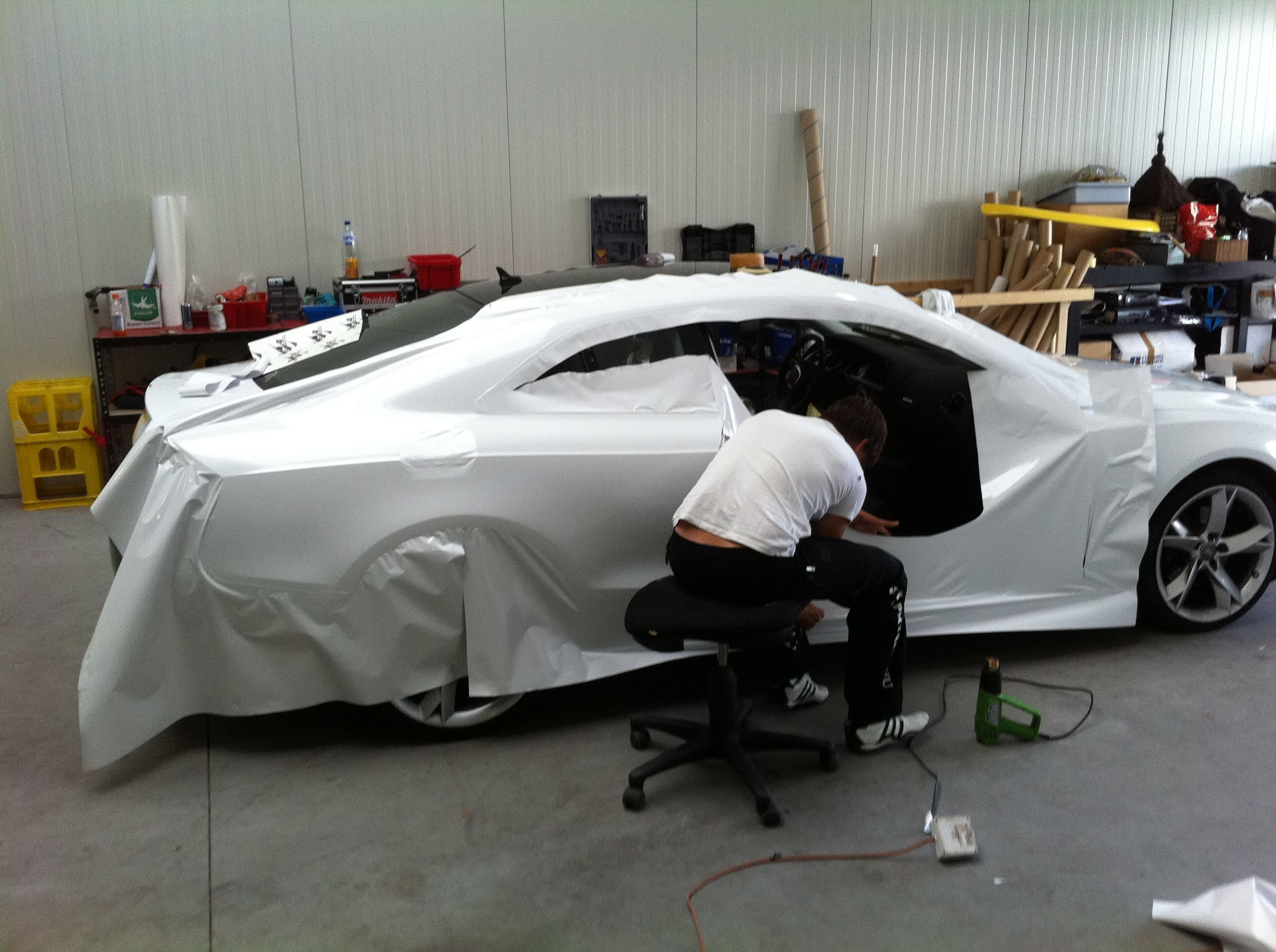 Audi A5 coupe met Metallic Witte Wrap, Carwrapping door Wrapmyride.nu Foto-nr:4662, ©2020