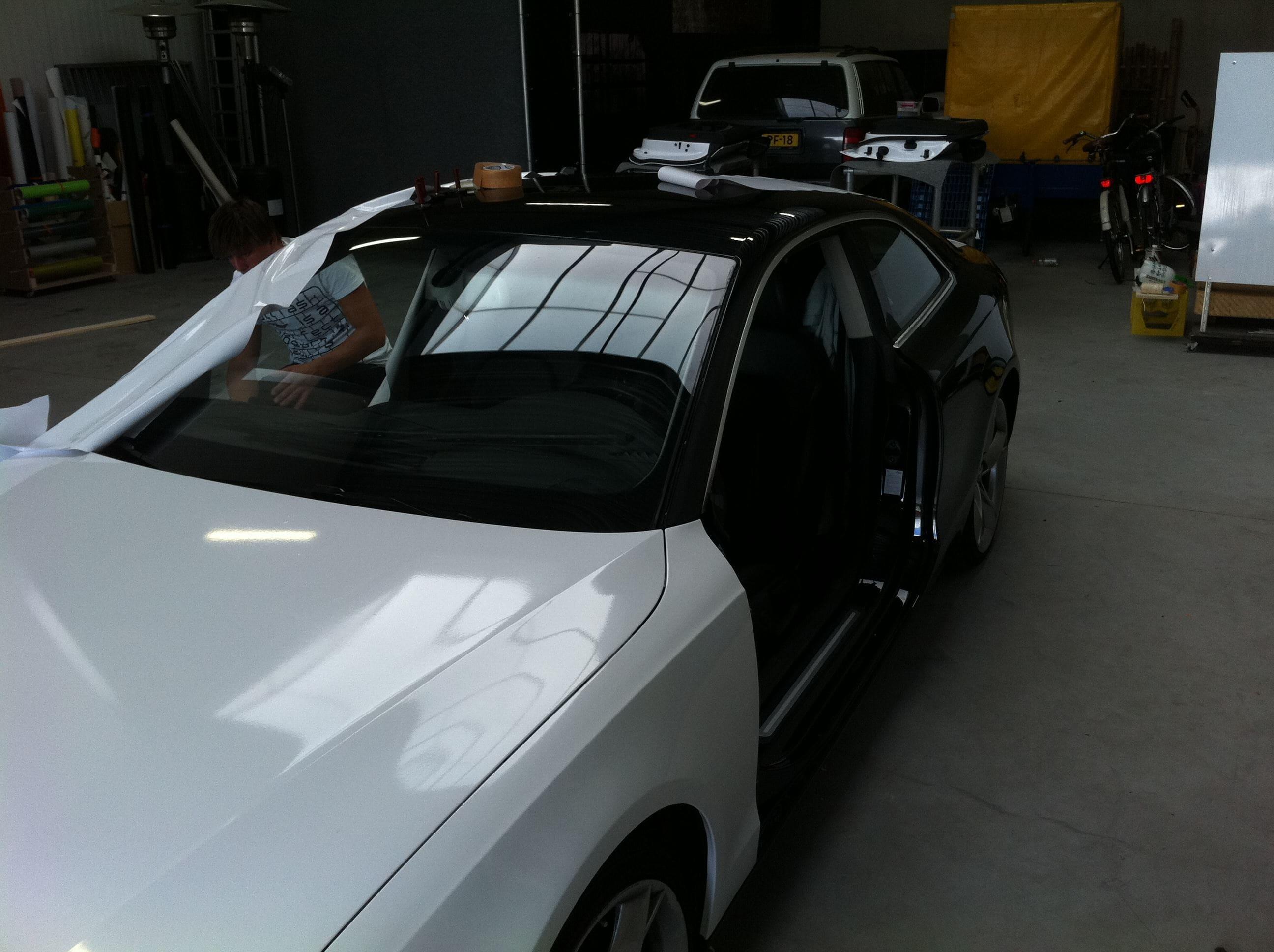 Audi A5 coupe met Metallic Witte Wrap, Carwrapping door Wrapmyride.nu Foto-nr:4664, ©2021