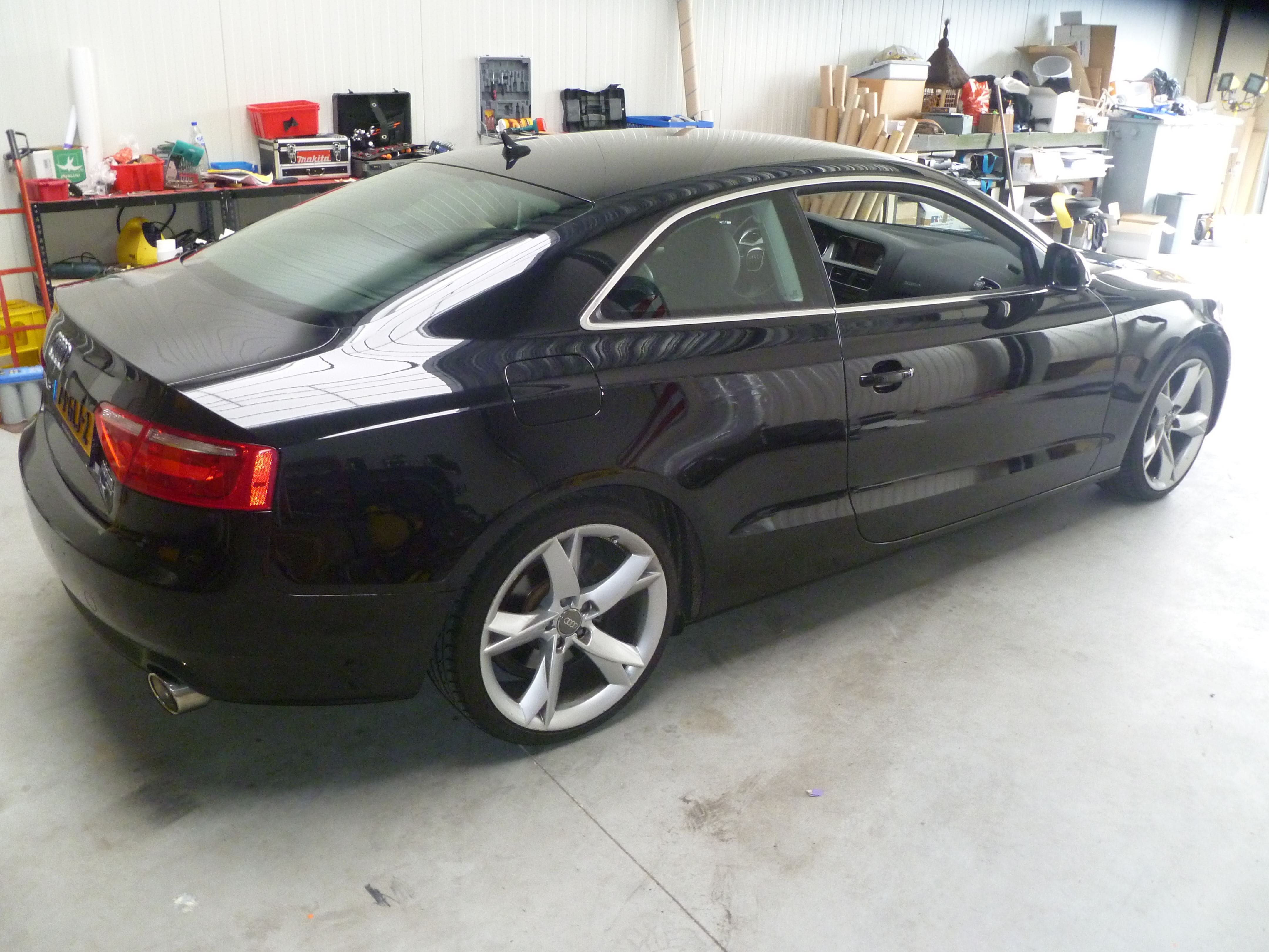 Audi A5 coupe met Metallic Witte Wrap, Carwrapping door Wrapmyride.nu Foto-nr:4672, ©2020