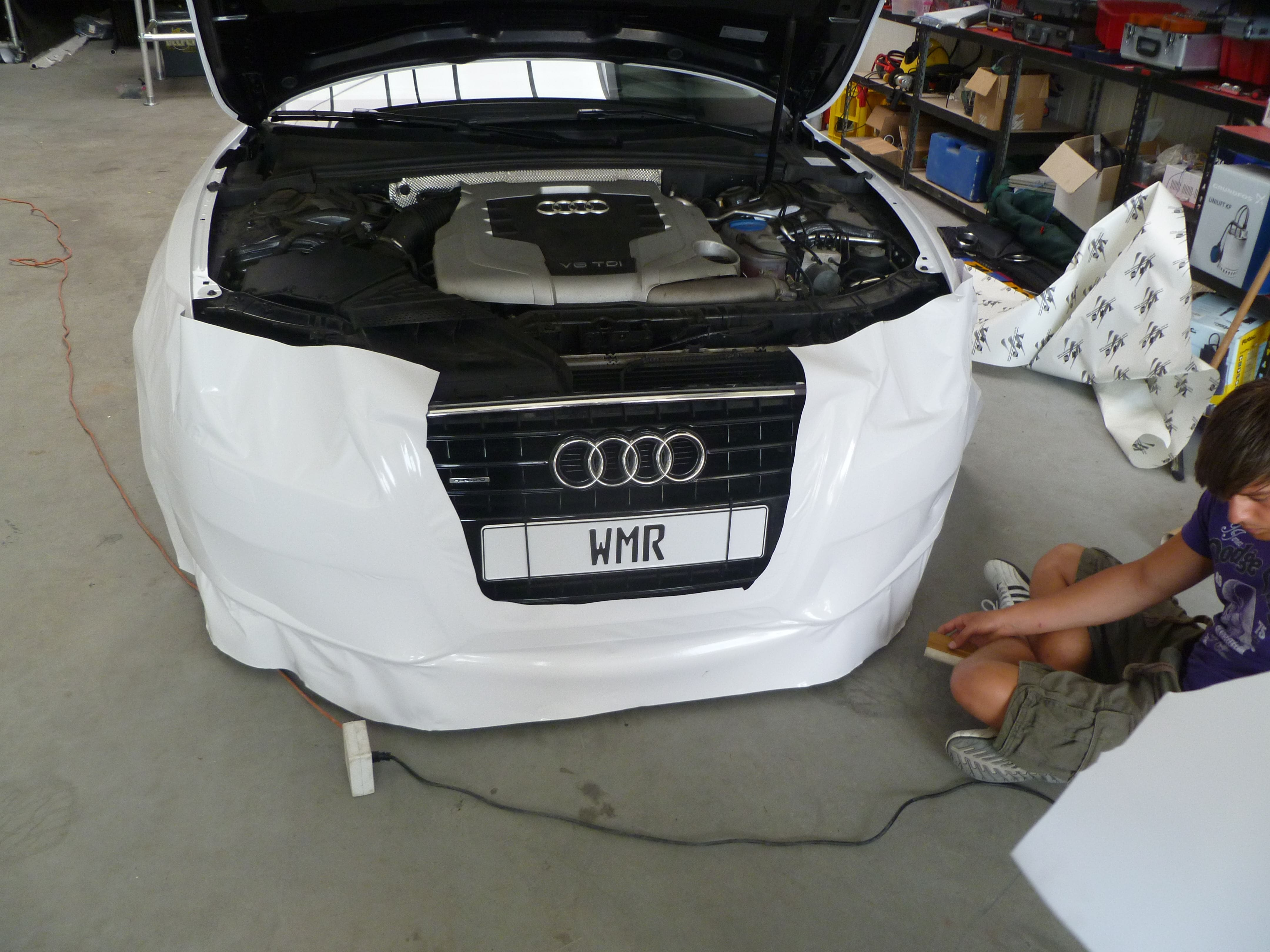 Audi A5 coupe met Metallic Witte Wrap, Carwrapping door Wrapmyride.nu Foto-nr:4708, ©2020