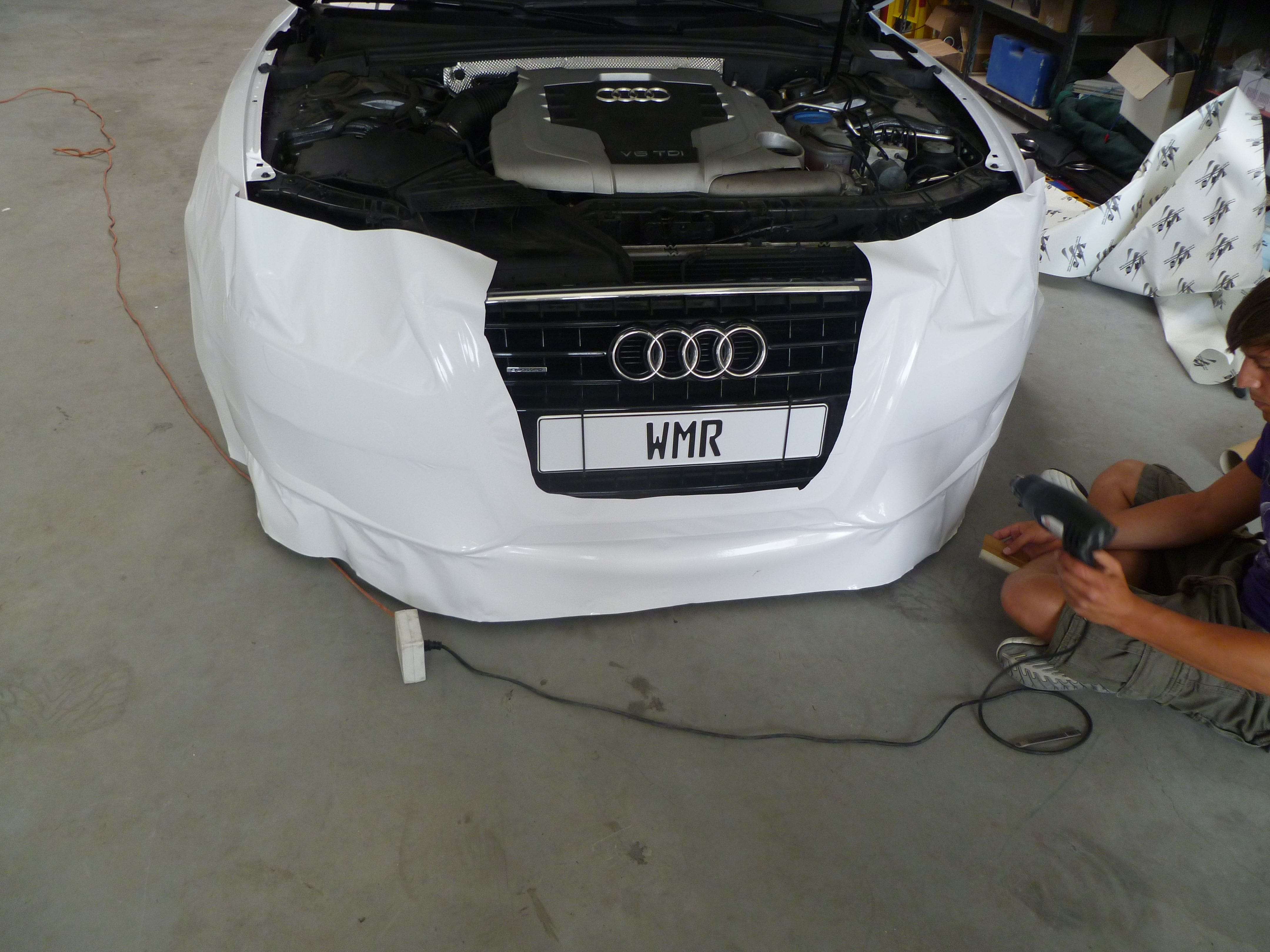 Audi A5 coupe met Metallic Witte Wrap, Carwrapping door Wrapmyride.nu Foto-nr:4709, ©2020