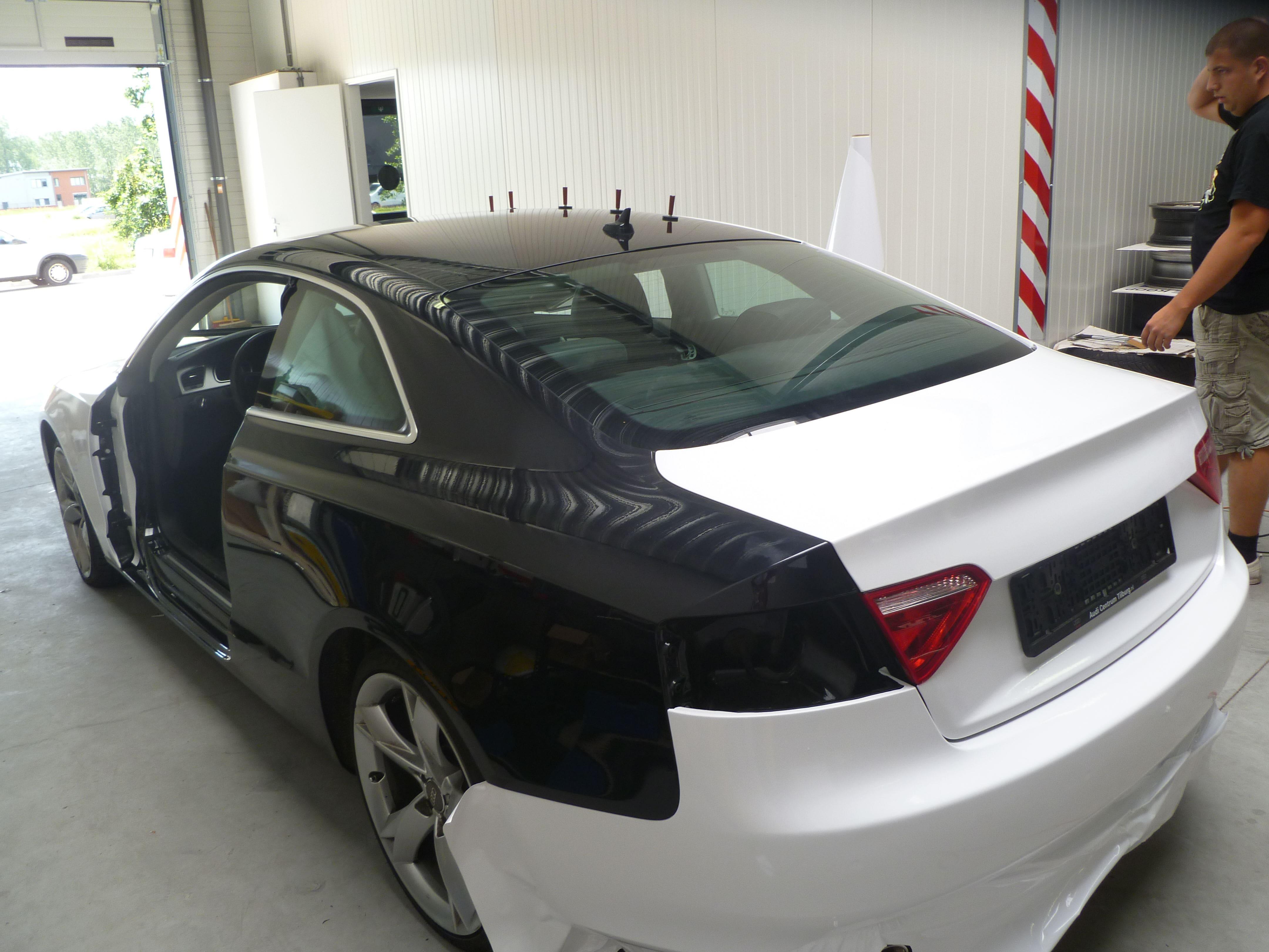 Audi A5 coupe met Metallic Witte Wrap, Carwrapping door Wrapmyride.nu Foto-nr:4723, ©2021
