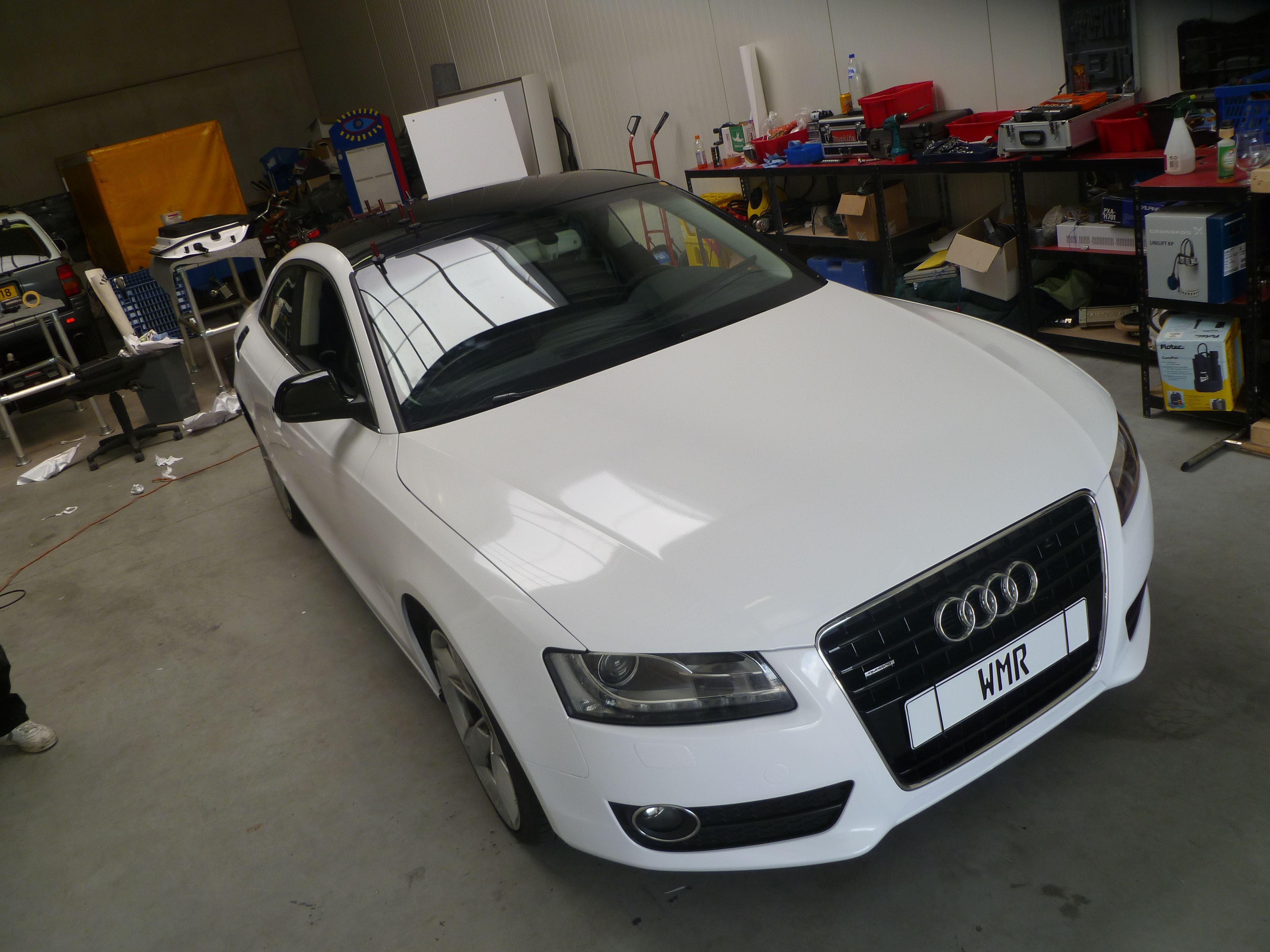 Audi A5 coupe met Metallic Witte Wrap, Carwrapping door Wrapmyride.nu Foto-nr:4726, ©2020