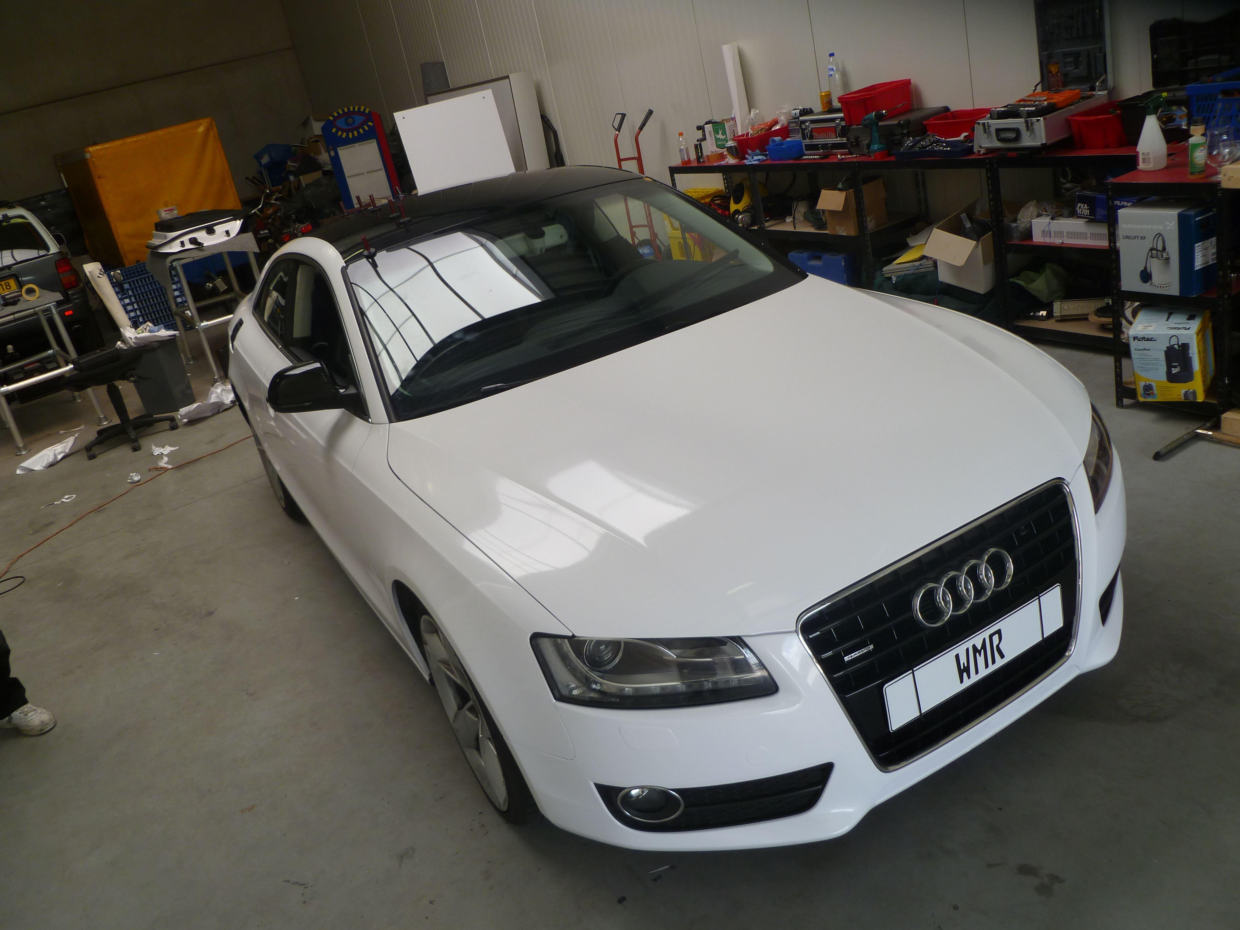 Audi A5 coupe met Metallic Witte Wrap, Carwrapping door Wrapmyride.nu Foto-nr:4726, ©2021