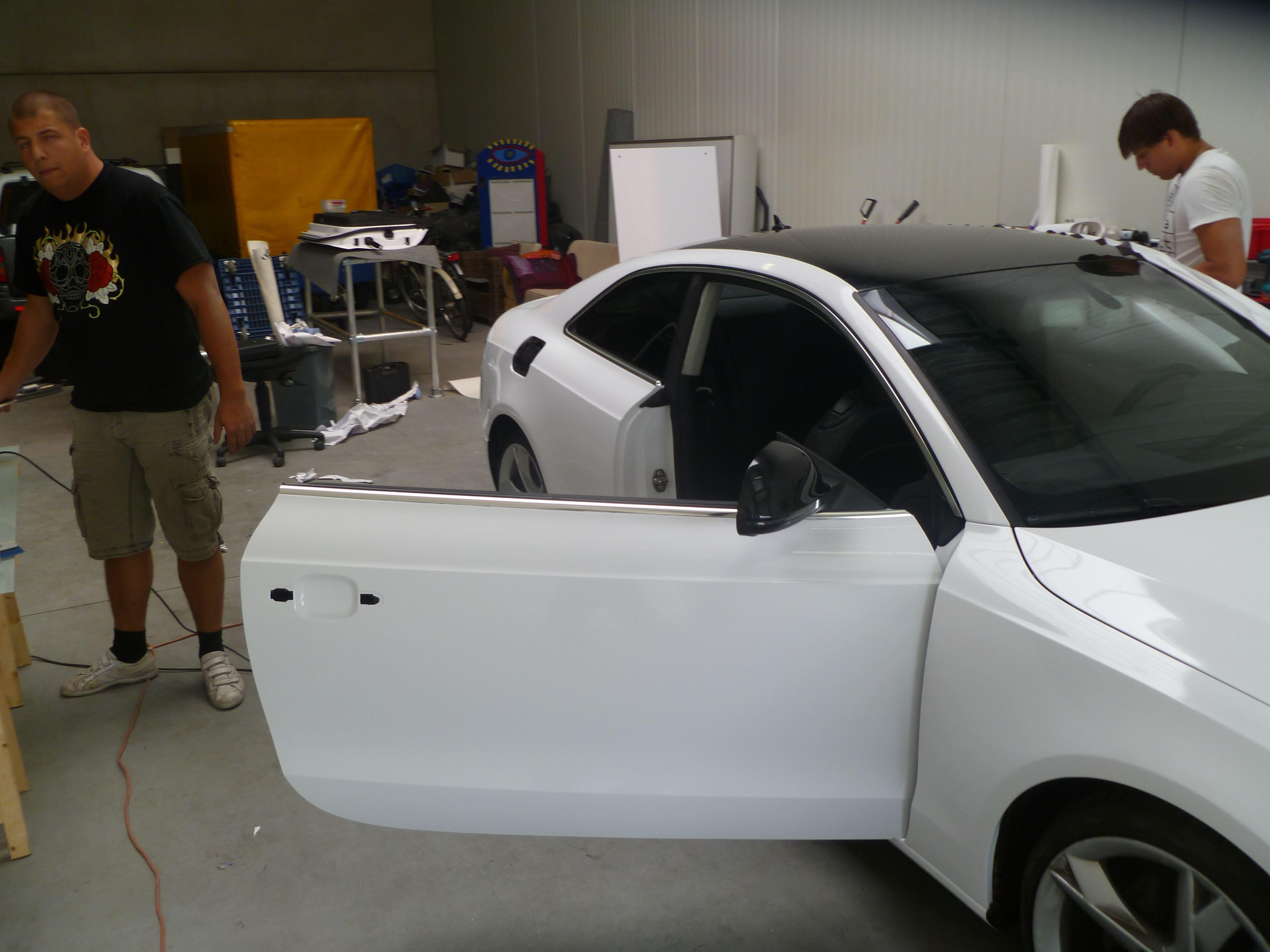 Audi A5 coupe met Metallic Witte Wrap, Carwrapping door Wrapmyride.nu Foto-nr:4730, ©2021