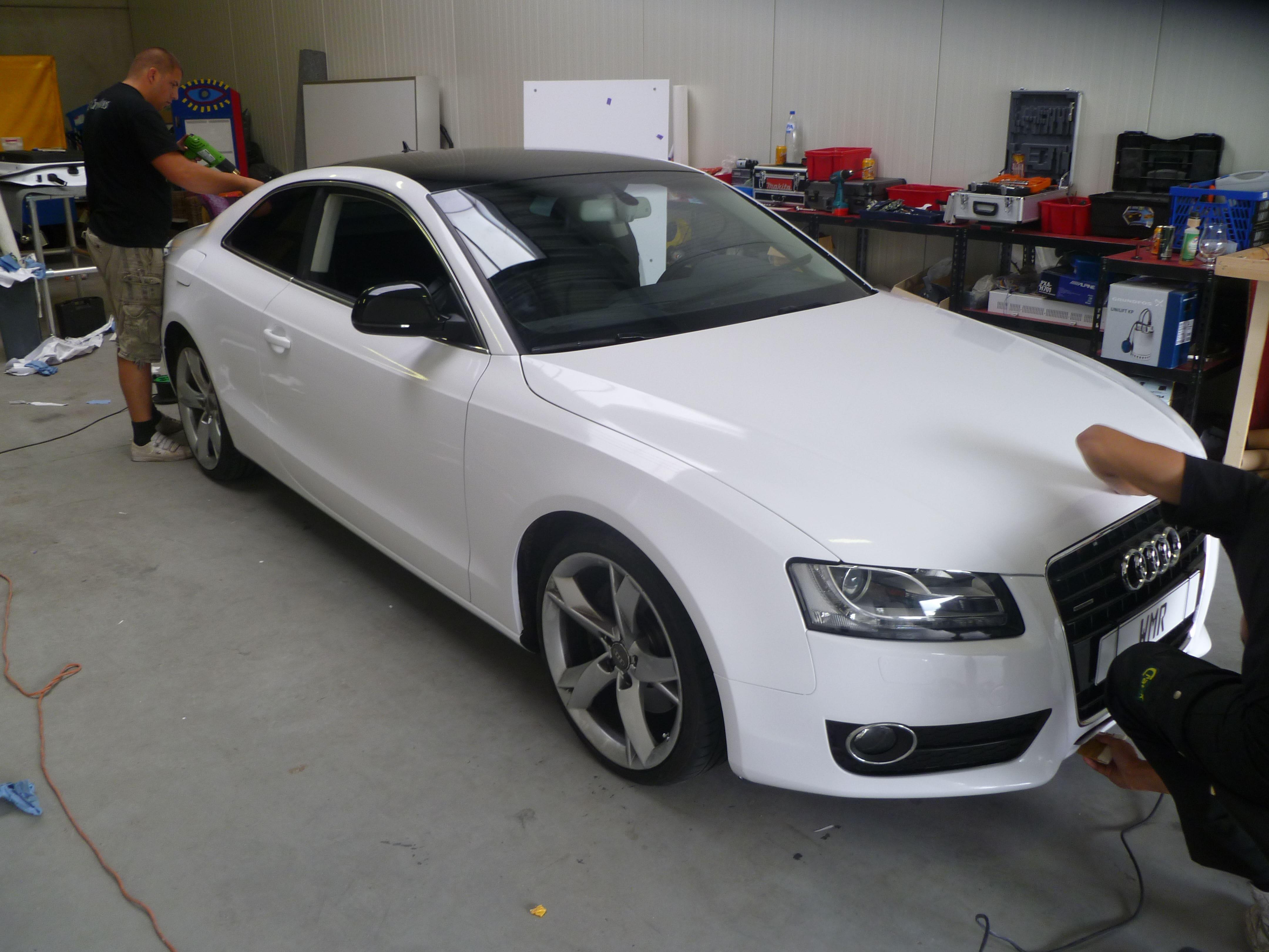 Audi A5 coupe met Metallic Witte Wrap, Carwrapping door Wrapmyride.nu Foto-nr:4733, ©2021