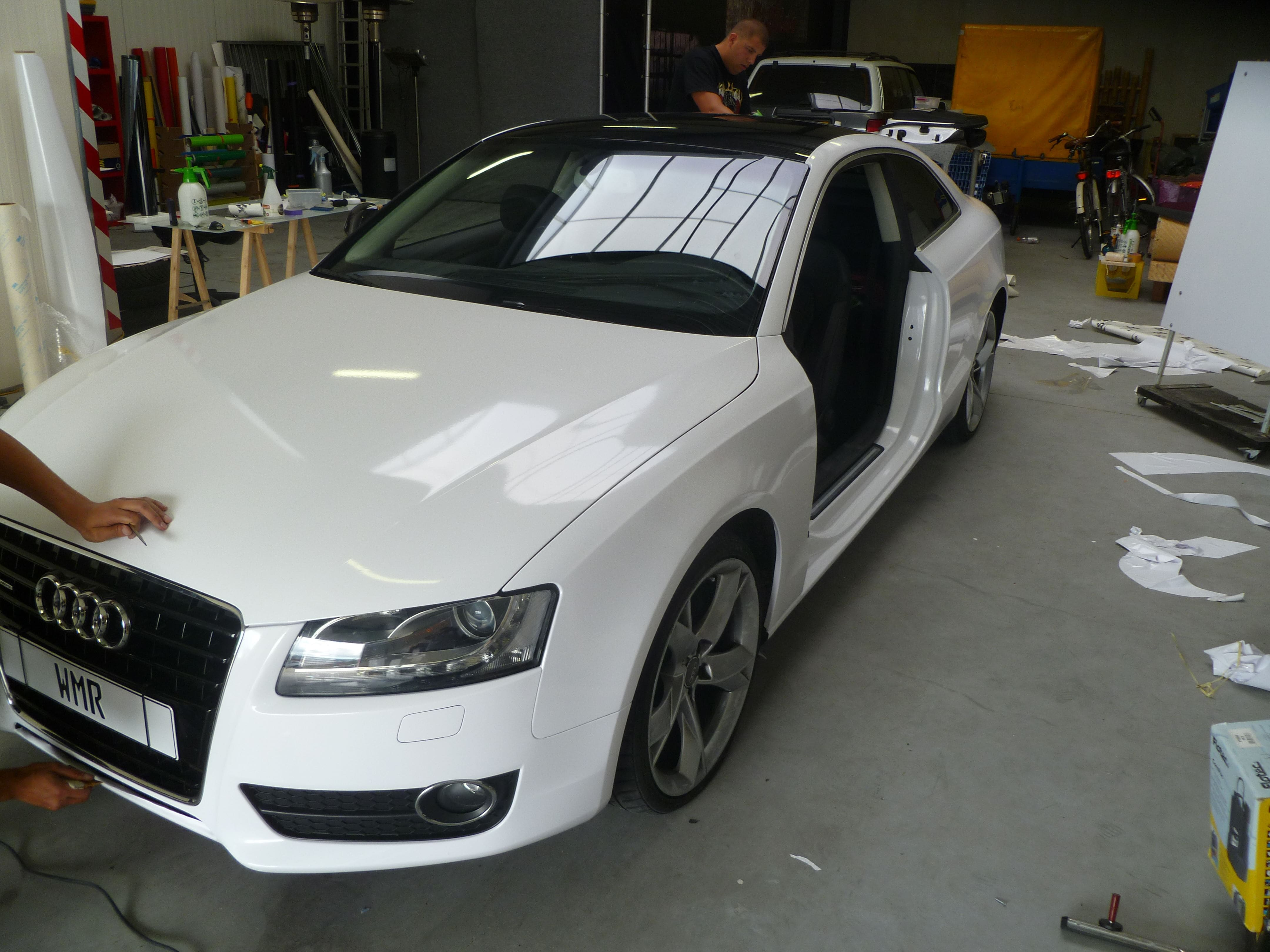 Audi A5 coupe met Metallic Witte Wrap, Carwrapping door Wrapmyride.nu Foto-nr:4734, ©2020