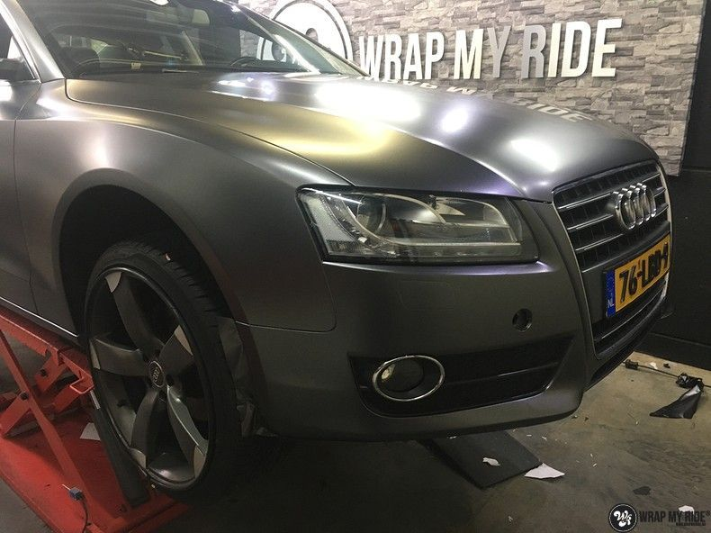 Audi A5 Satin Dark Grey, Carwrapping door Wrapmyride.nu Foto-nr:10800, ©2021