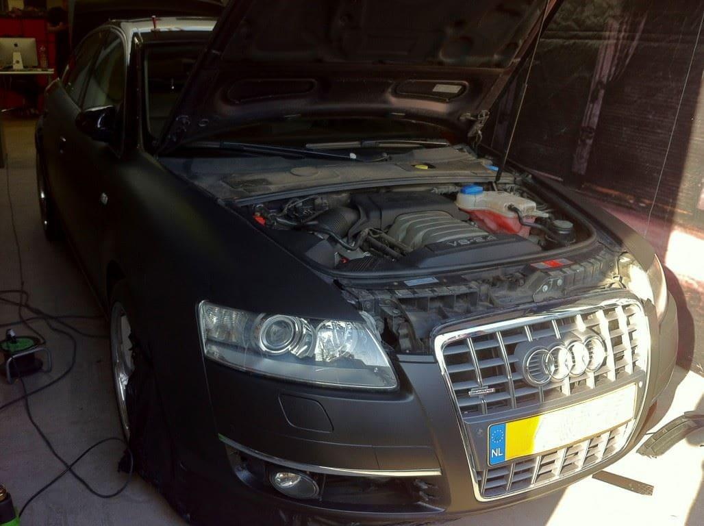 Audi A6 van Wit naar Mat Zwart, Carwrapping door Wrapmyride.nu Foto-nr:4816, ©2021