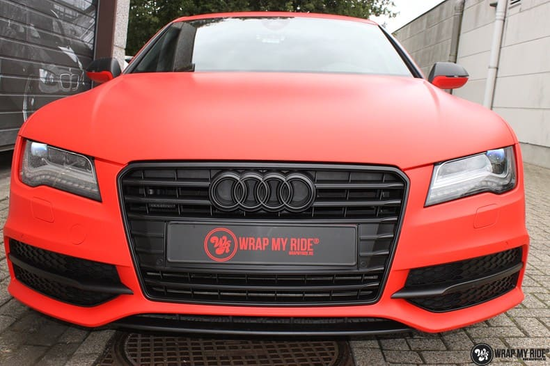 Audi A7 matte hotrod red, Carwrapping door Wrapmyride.nu Foto-nr:10292, ©2018