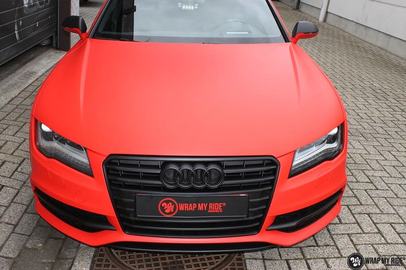 Audi A7 matte hotrod red, Carwrapping door Wrapmyride.nu Foto-nr:10291, ©2018