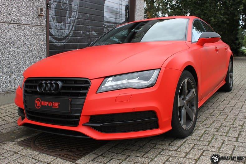 Audi A7 matte hotrod red, Carwrapping door Wrapmyride.nu Foto-nr:10290, ©2020