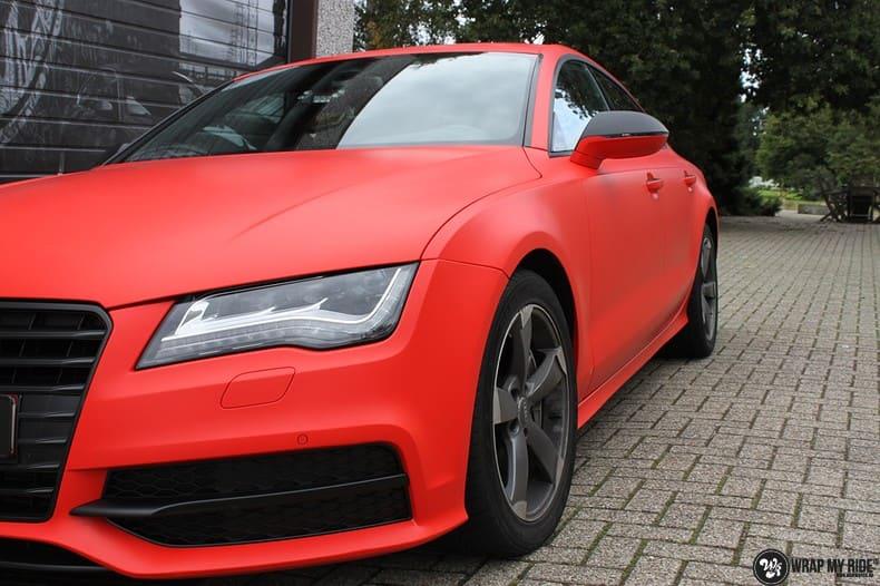 Audi A7 matte hotrod red, Carwrapping door Wrapmyride.nu Foto-nr:10288, ©2020