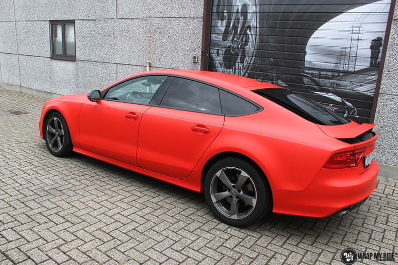 Audi A7 matte hotrod red, Carwrapping door Wrapmyride.nu Foto-nr:10285, ©2018