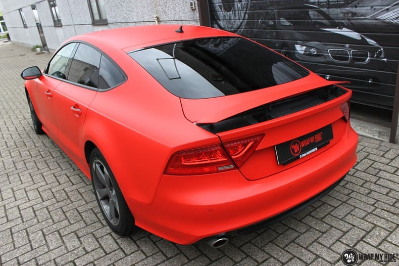 Audi A7 matte hotrod red, Carwrapping door Wrapmyride.nu Foto-nr:10277, ©2018