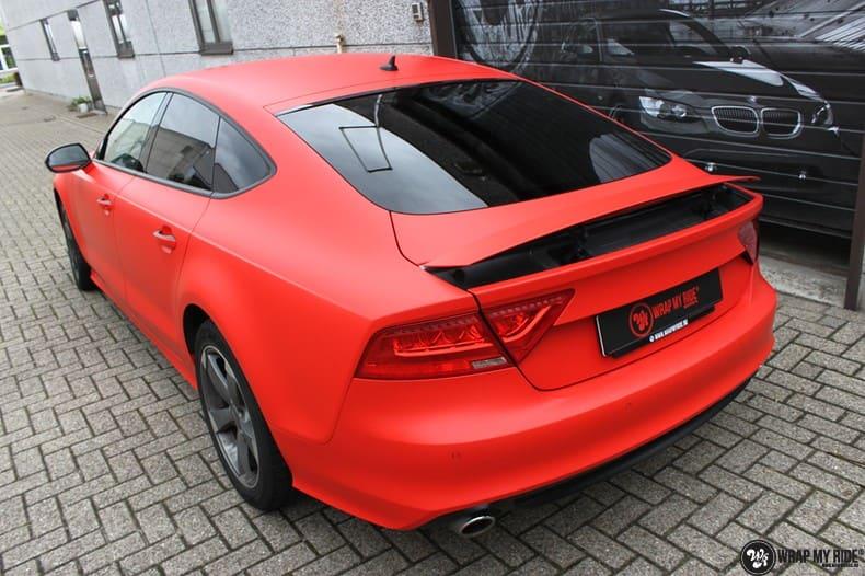 Audi A7 matte hotrod red, Carwrapping door Wrapmyride.nu Foto-nr:10277, ©2020