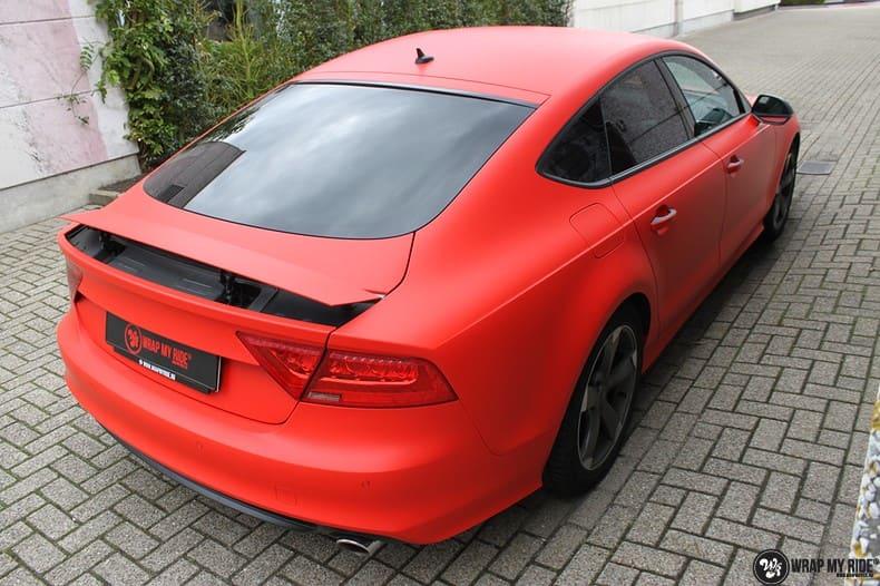 Audi A7 matte hotrod red, Carwrapping door Wrapmyride.nu Foto-nr:10276, ©2020