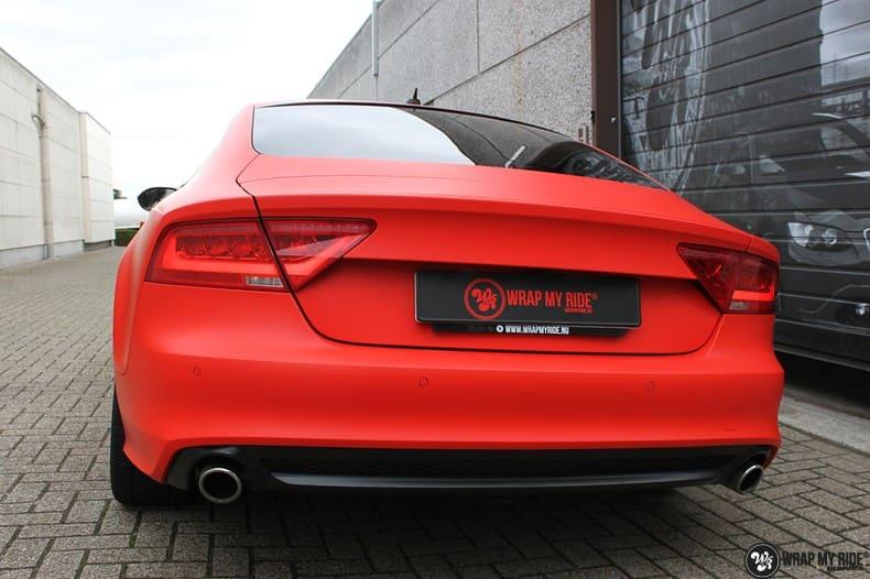 Audi A7 matte hotrod red, Carwrapping door Wrapmyride.nu Foto-nr:10274, ©2020