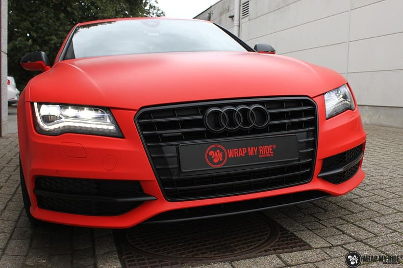Audi A7 matte hotrod red, Carwrapping door Wrapmyride.nu Foto-nr:10273, ©2018