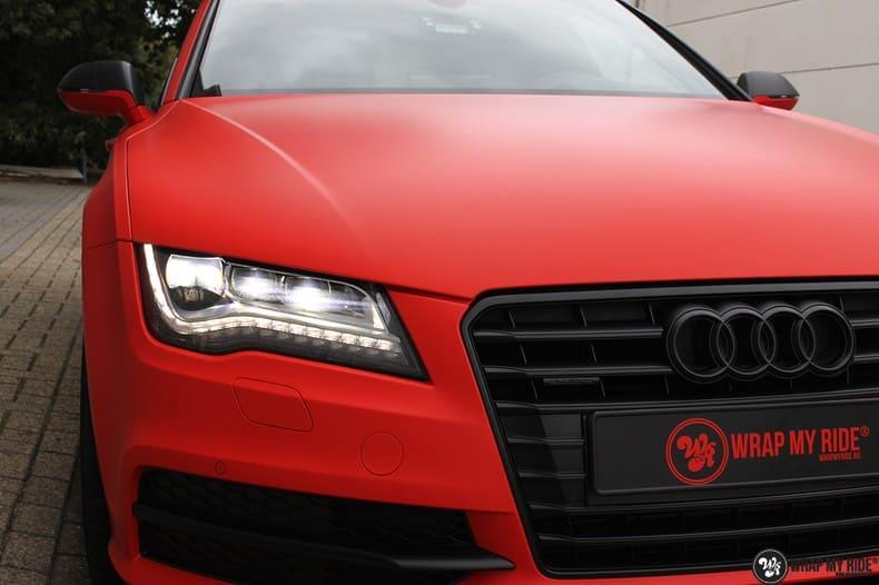 Audi A7 matte hotrod red, Carwrapping door Wrapmyride.nu Foto-nr:10272, ©2020